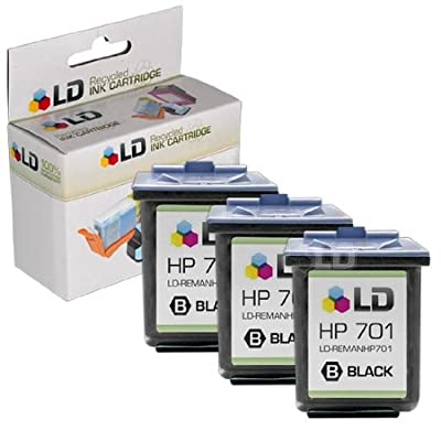 LD Remanufactured Replacement Ink Cartridges for Hewlett Packard CC635A (HP 701) Black (3 Pack) for use in the HP FAX 640, HP FAX 650, HP 2140 Fax Printers