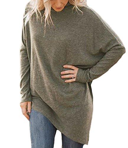 Oufour E Autunno Lunga Casual Jumper Collo Sweater Marrone Tinta Manica A Unita Pullover Primavera Tunica Maglione Lungo Alto Bluse Tops Donna Irregolare rA5gxrEqw