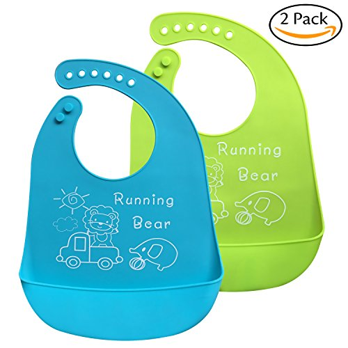 Bassion 2 Pack Waterproof Silicone Bibs - Easily Wipes Clean Silicone Feeding Bibs - Comfortable Soft Waterproof Toddlers Baby Bibs Keep Stains Off - Green & Blue