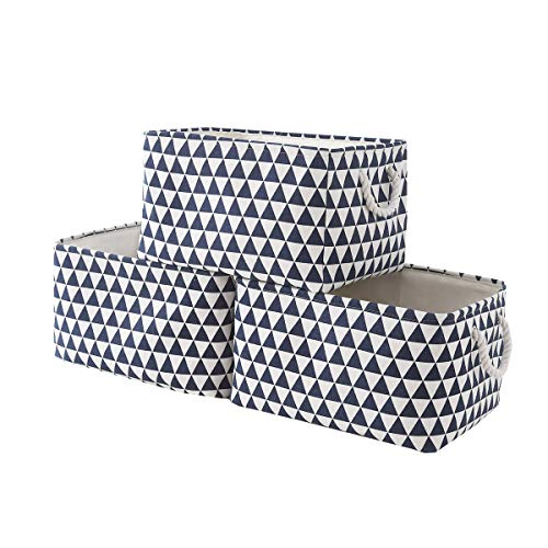 TcaFmac Large Fabric Storage Basket Set[3-Pack] Decorative Collapsible Canvas Storage Bin Containers with Rope Handles Empty Gifts Baskets for Shelves,Baby Basket