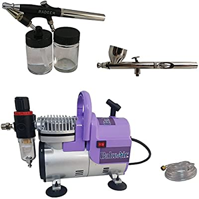 Badger Air-Brush Co. Bake Air TC908P Compressor with Bake Air Omni 4000 Airbrush, 350MT Airbrush and 6-Foot Clear Hose