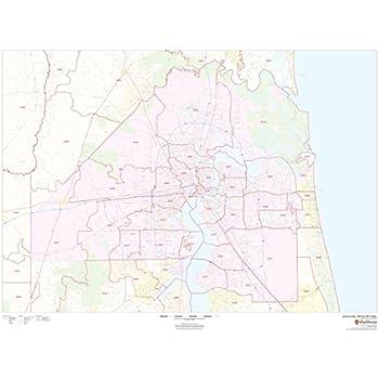 Map Of Jacksonville Florida.Amazon Com Jacksonville Florida Zip Codes 48 X 36 Laminated