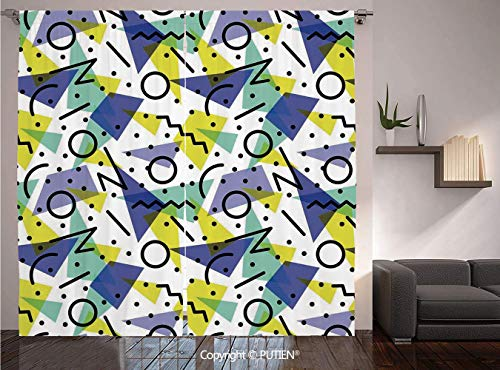 Thermal Insulated Blackout Window Curtain [ Modern Decor,Geometric Retro 80s Themed Image with Lines Circles and Spots Print,Blue Yellow and Black ] for Living Room Bedroom Dorm Room Classroom Kitchen