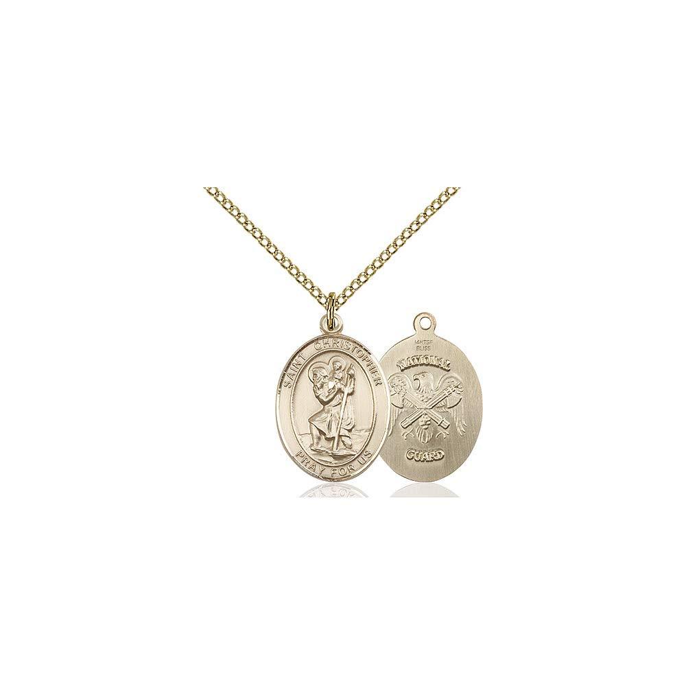 DiamondJewelryNY 14kt Gold Filled St Christopher//Natl Guard Pendant
