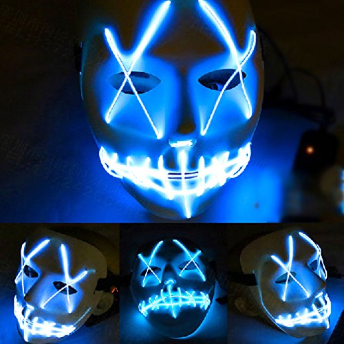 Freebily Halloween Scary Mask, Halloween Cosplay Led Costume Mask EL Wire Light up Mask