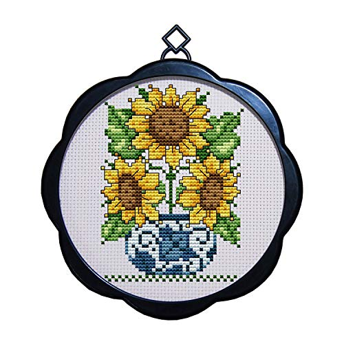 Sunflower Kit (Cross Stitch Stamped Kits Quilt Pre-Printed Patterns Cross-Stitching for Beginner Kids Adults 11CT Embroidery Crafts Needlepoint Starter Kits, Sunflower Potted)