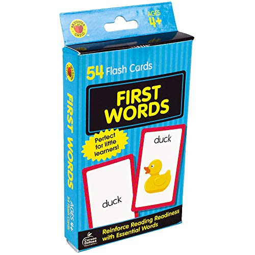Carson Dellosa - First Words Flash Cards - 54 Cards for Phonics, Sight Words, Letter Recognition, Early Development for Preschool Toddler Ages - Child Activities Learning Brighter