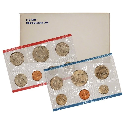 1980 United States Mint Uncirculated Coin Set in Original Government Packaging (Anthony Susan B Quarter)