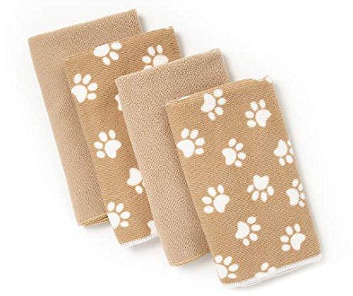 Gatherings Bundle of Four Paw Print Microfiber Kitchen Towels, 100% Polyester - Lint Free