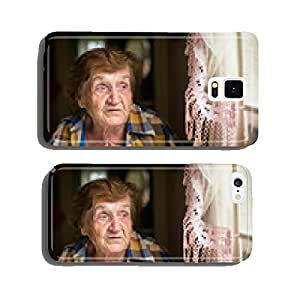 Old woman sitting at a table in his house cell phone cover case iPhone5