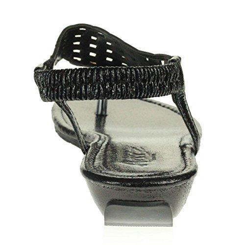 AARZ LONDON Frau Damen Kristall Diamant Beiläufig Komfort Slingback Niedrig Keilabsatz Leicht Sandalen Schuhe Größe Schwarz