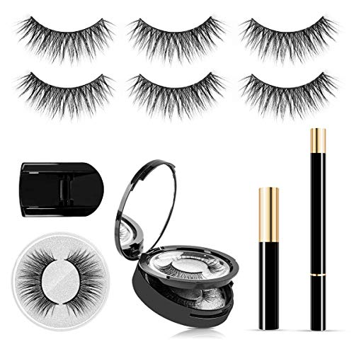 SISILILY 3 Pairs Reusable Eyelashes Kit No Megnet Glue Free False Eyelashes and Liquid Eyeliner Kit with Mascara Handmade Waterproof 3D Eyelahses for Party,Date(Diamond)