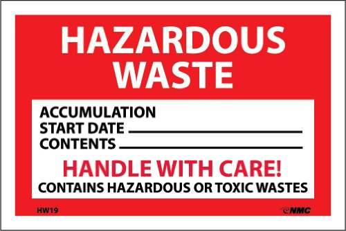 "NMC HW19 Hazardous Waste Container Label, ""HAZARDOUS WASTE"", 6"" Width x 4"" Height, Pressure Sensitive Vinyl, White/Black on Red (Pack of 25)"