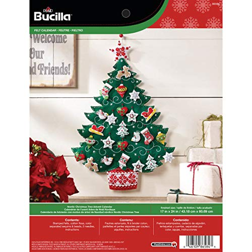 Bucilla Felt Applique Advent Calendar Kit, 17 by 24-Inch, 86584 Nordic - Ornament Christmas Bucilla