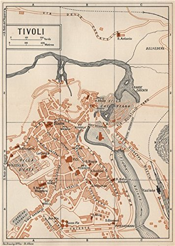 Amazon.com: TIVOLI vintage town city map plan. Pianta mappa ... on puma map, bank of america map, mcdonald's map, target map, apple store map, urban outfitters map, old navy map, at&t map, coldwater creek map,