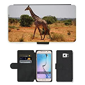 Super Stella Cell Phone Card Slot PU Leather Wallet Case // M00147234 Giraffe Kenya Tsavo Mammal Savanna // Samsung Galaxy S6 (Not Fits S6 EDGE)