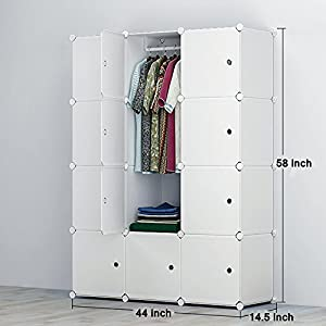 Genial WitHome Portable Clothes Wardrobe Closet Moving Boxes Freestanding Storage  Organizer With Doors Large Space Sturdy Construction White 10 Cube With  Shoe ...