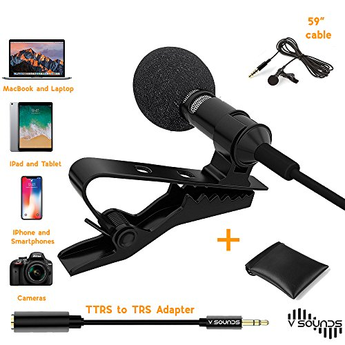 Best Lavalier Lapel Microphone Omnidirectional Condenser Mic with Easy Clip On System Perfect for Apple IPhone, Macbook, IPad, Smartphones Android and Windows, Go Pro, Camera, Interviews by V Sounds