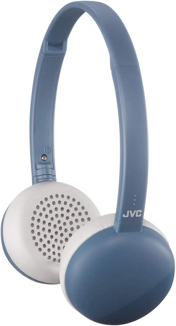 JVC Flats Wireless On Ear Headphones, Light Weight, 11 Hours Long Battery Life - HAS20BTA (Blue)