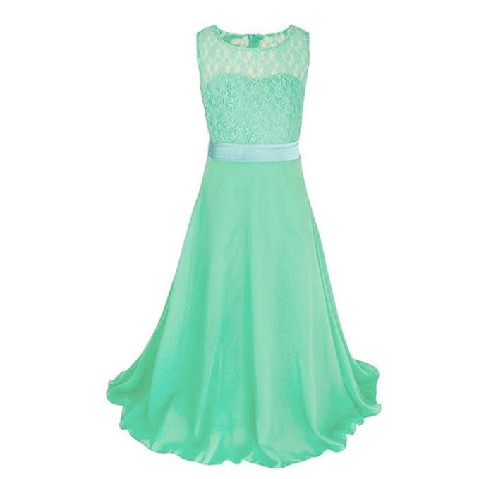 Free Fisher Niñas Vestido Largo de Ceremonia Boda Fiesta Princesa Vestidos de Encaje , Verde,