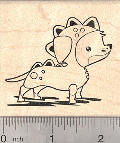 Wiener Dogs In Costumes (Halloween Dachshund Rubber Stamp, Wiener Dog in Dachsie-saurus Costume)