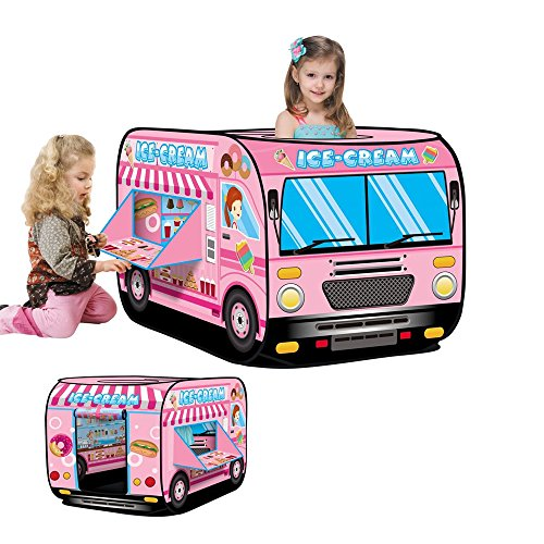 Haehne Children's Play Tent, Playground Indoor Outdoor Kids Gamehouse Toy Hut Easy Fold Playhouse, Cute Ice Cream Candy Car Design Wendy House