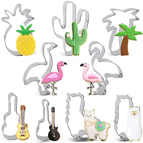 BAKHUK 9 Pcs Hawaiian Cookie Cutters Set, Suitable for Summer Hawwaiian Party Decorations, Stainless Steel