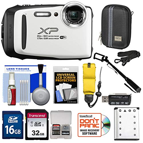 Fujifilm FinePix XP130 Shock & Waterproof Wi-Fi Digital Camera (White) with 32GB Card + Battery + Cases + Float Strap + Selfie Stick + Kit (Digital Camera Waterproof Olympus)