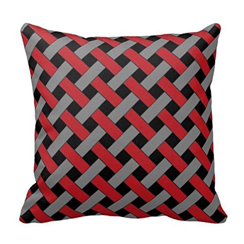 Bigdream Woven/Wicker-Look Pattern: Red, Gray And Black Thro