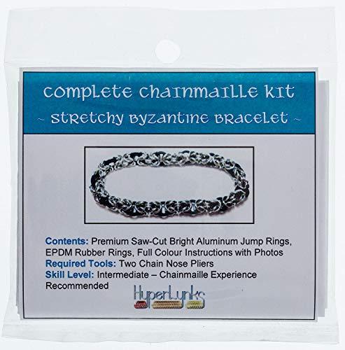 Bracelet Byzantine Weave - Chainmaille, Kit, Intermediate - Stretchy Byzantine Bracelet, Black