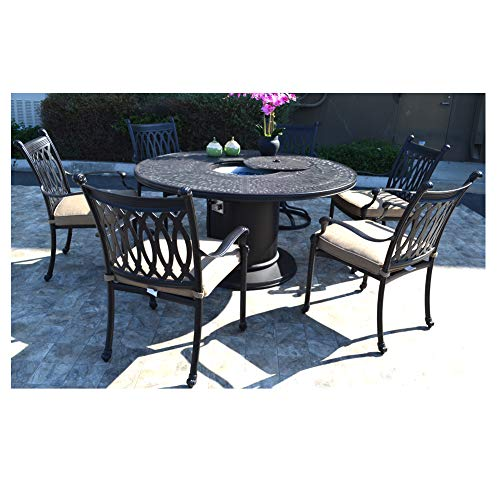 - 7 pc patio dining set Cast aluminum powder coated burner round table Grand Tuscany outdoor dining chairs and swivels.