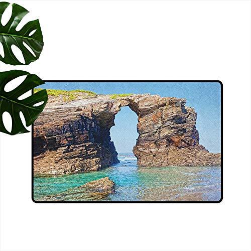 - Beach Fashion Door mat Old Rocky Stone Arches on Spanish Seacoast Summer Nature Scenery Mediterranean Print Antifouling W35 x L59 Blue Cream