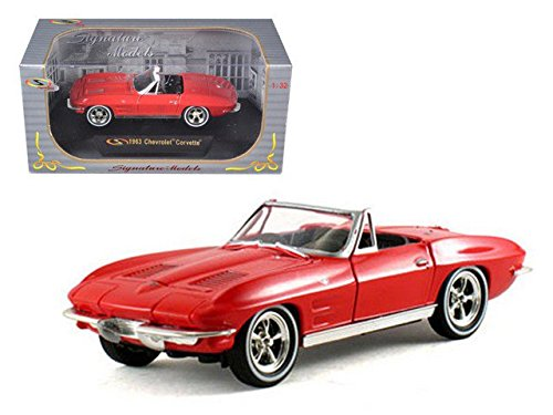 (Signature Models 1963 Chevy Corvette Convertible, Red 32435 - 1/32 Scale Diecast Model Toy Car)