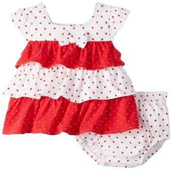 Absorba Baby-Girls Newborn Print Two Piece Short Set, Red/White, 3-6 Months