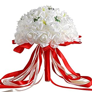 ZTTONE Wedding Bouquet, Crystal Roses Bridesmaid Wedding Bouquet Bridal Artificial Silk Flowers Home Party Decoration 47