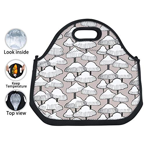 - ENPENGOOD Autumn Mushroom Pattern Tin Foil Lunch Bag Waterproof Bento Tote Boxes Leakproof Snack Handbags