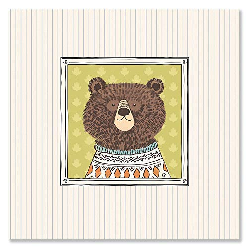 Oopsy Daisy Fine Art for Kids Pretty Portrait Bear Canvas Wall Art by Liz Mytinger, 10 x 10