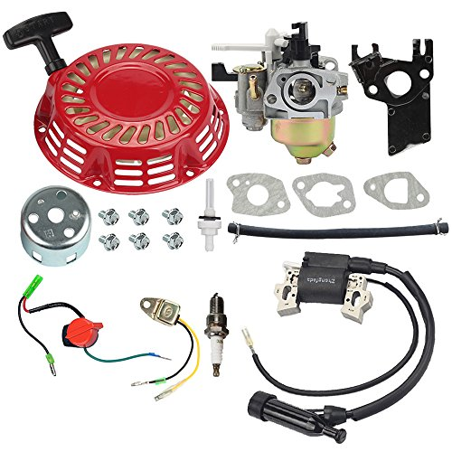 HIPA Carburetor + Recoil Starter Coil Ignition Coil for Harbor Freight Predator 212cc 6.5HP OHV Horizontal Engine 69730 69727 Go Kart ()