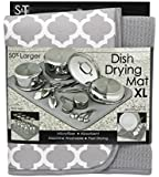S&T 497500 Microfiber Dish Drying Mat, X-Large, 18 by 24-Inch, Grey/White Trellis