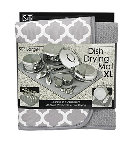 Mat Counter White - S&T 497500 Microfiber Dish Drying Mat, X-Large, 18 by 24-Inch, Grey/White Trellis