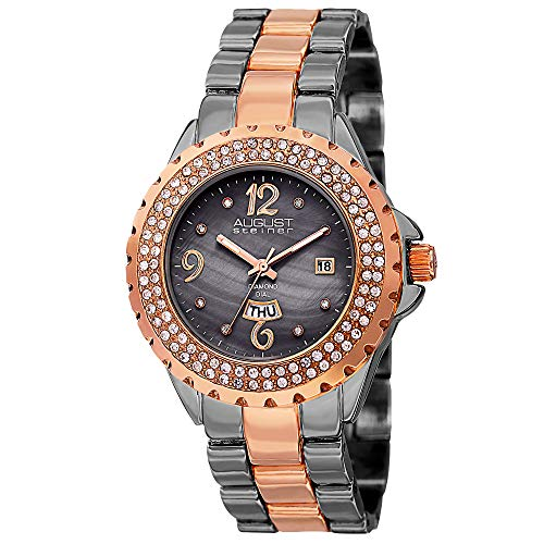 August Steiner Women's AS8156TTR Two Tone Crystal Accented Quartz Watch with Gray Mother of Pearl Dial and Rose Gold and Gray Bracelet
