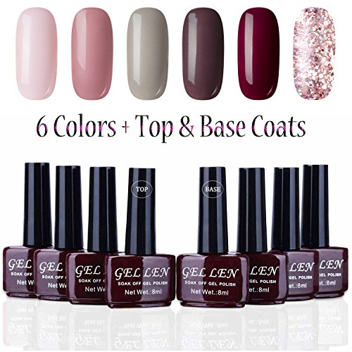 - Gellen Shimmering Vibrant Colors Gel Polish Kit 6 Colors Plus Base and Top Coats, Ideal Nail Starter Kit
