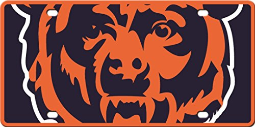 Chicago Bears Printed MEGA Style Deluxe Laser Acrylic License Plate Tag Football (Bears Laser Chicago License Plate)