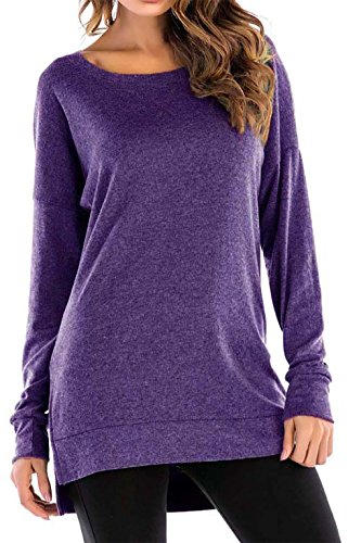 8sanlione Womens Long Sleeve Casual Crew Neck Pullover Loose Sweatshirt Tunic Tops T-Shirt(Small/US 4-6,Purple) ()