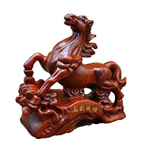 AUKLM Wooden Feng Shui Horse Sculpture, Bringing Rich Feng Shui Crafts, Living Room Bedroom Porch Hotel Office Home Decoration Business Gifts, 192512cm (Sale Sculptures Horse Wooden)