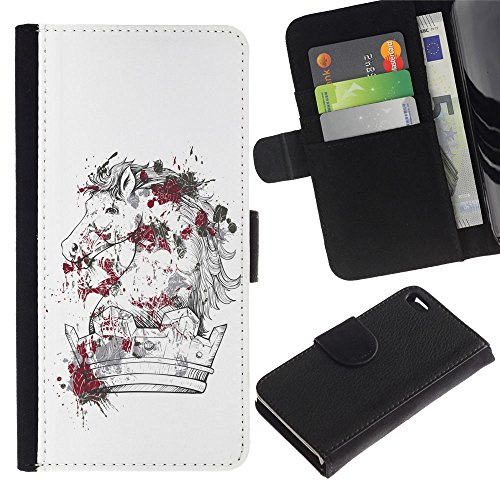 OMEGA Case / Apple Iphone 4 / 4S / The Majestic Horse / Cuir PU Portefeuille Coverture Shell Armure Coque Coq Cas Etui Housse Case Cover Wallet Credit Card
