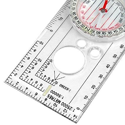 Keraiz Unisexs CM-CMPS-UHNO Compass Army Scouts Hiking Camping Boating Walking Map Reading Silver Medium