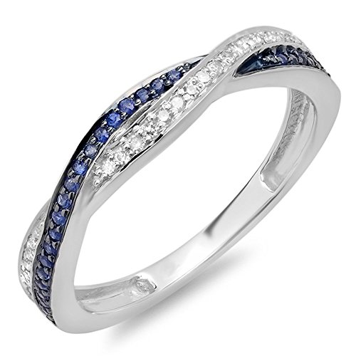 Dazzlingrock Collection 10K Round White Diamond & Blue Sapphire Stackable Wedding Band Swirl Ring, White Gold, Size 7 - Diamond 10k Gold Swirl Ring