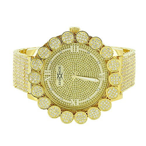 Flower Bezel Custom Watch Yellow Gold Finish Iced Out Genuine Diamond Dial Khronos On Sale