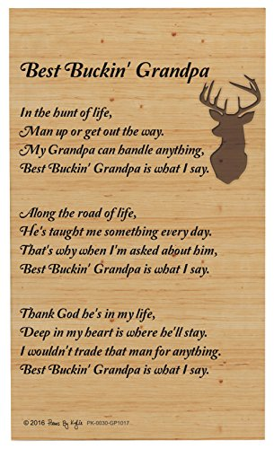 (Grandpa Gifts for Christmas Best Buckin Grandpa Poem Outdoorsman Decorative Poetry Award Gift Plaque Glass Plaque )